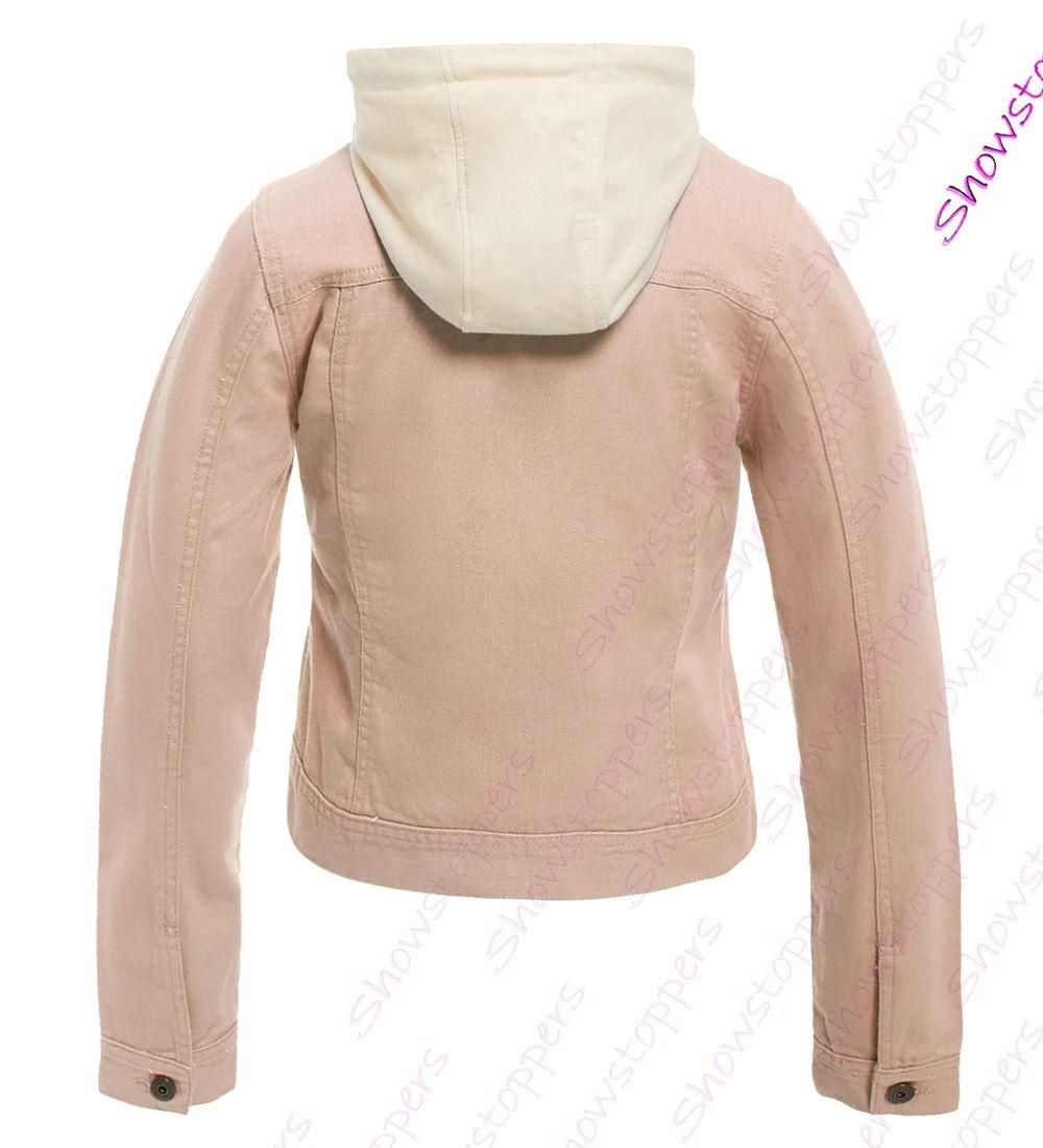 outlet store 69518 9da53 Details zu Damen Jersey Kapuze Jeansjacke Damen Jeans Jacken Größe 8 10 12  14 16 rosa blau
