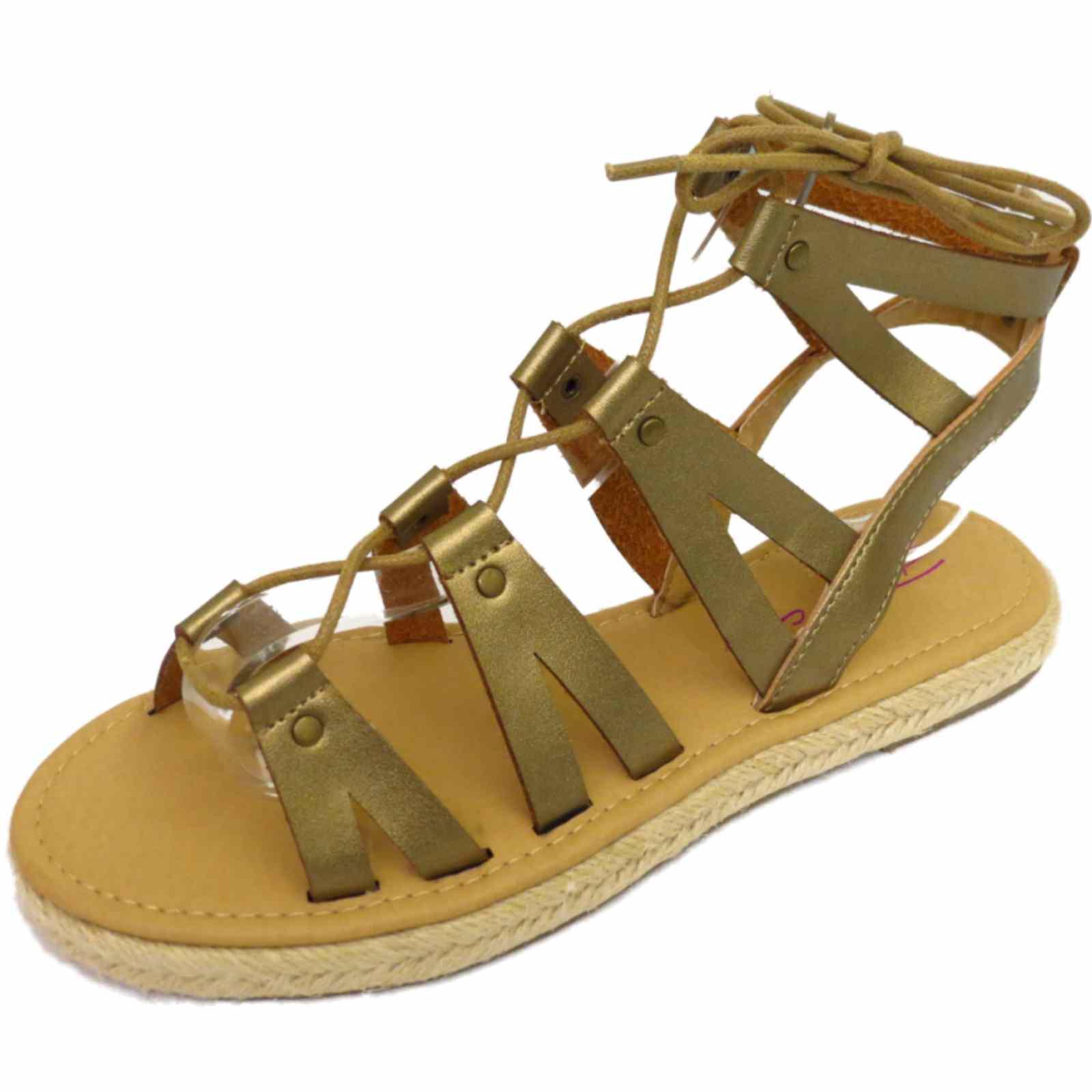 damen dolcis flach zum schn ren gladiator riemchen sandalen schuhe peep toe ebay. Black Bedroom Furniture Sets. Home Design Ideas