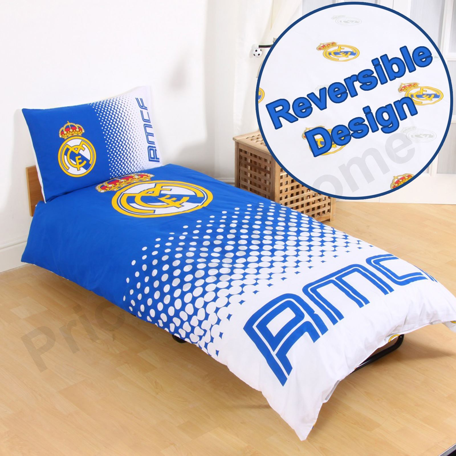 Officiel real madrid simple double housse couette for Housse couette football