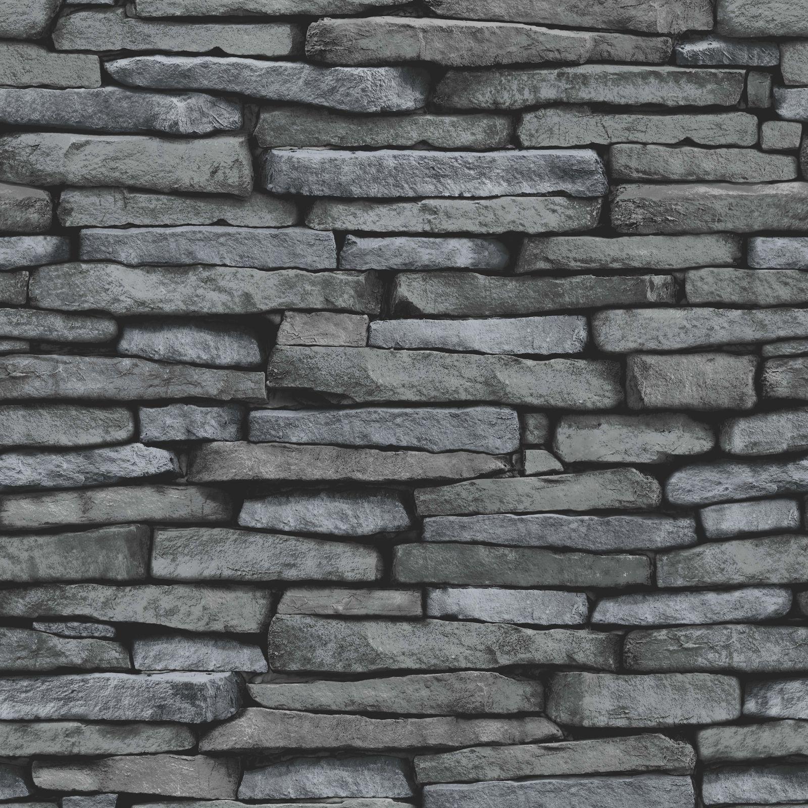 ardoise mur de pierre effet papiers peints moderne aspect grey noir ebay. Black Bedroom Furniture Sets. Home Design Ideas