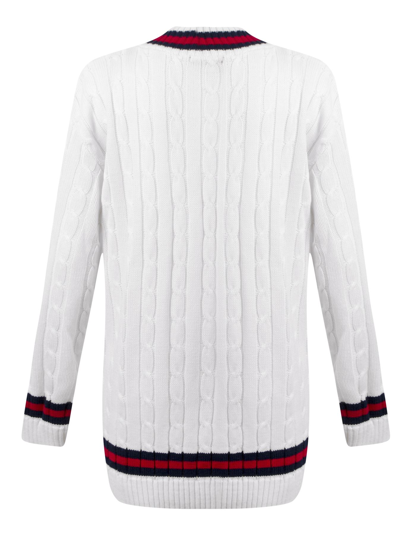 44b658c43e3 Womens Ladies Cable Knit V Neck Long Stretch Onesize Cricket Jumper ...