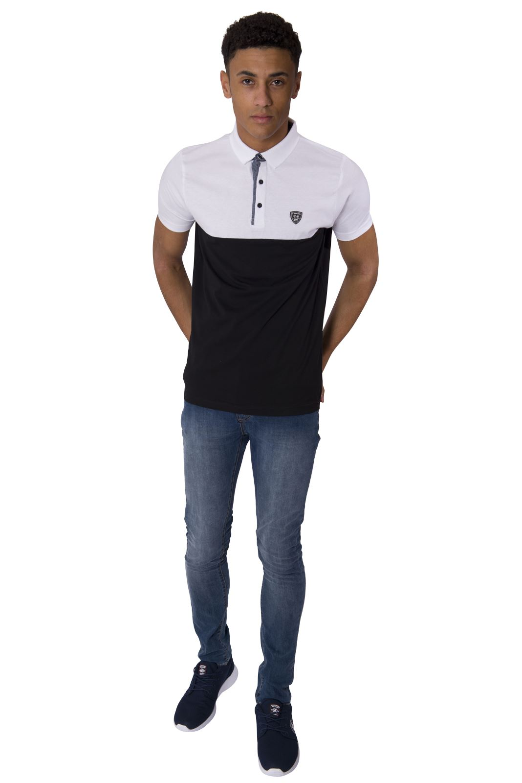 rawcraft-NEUF-Polo-Hommes-Chemise-manche-courte-contraste-couleur-col-chemise