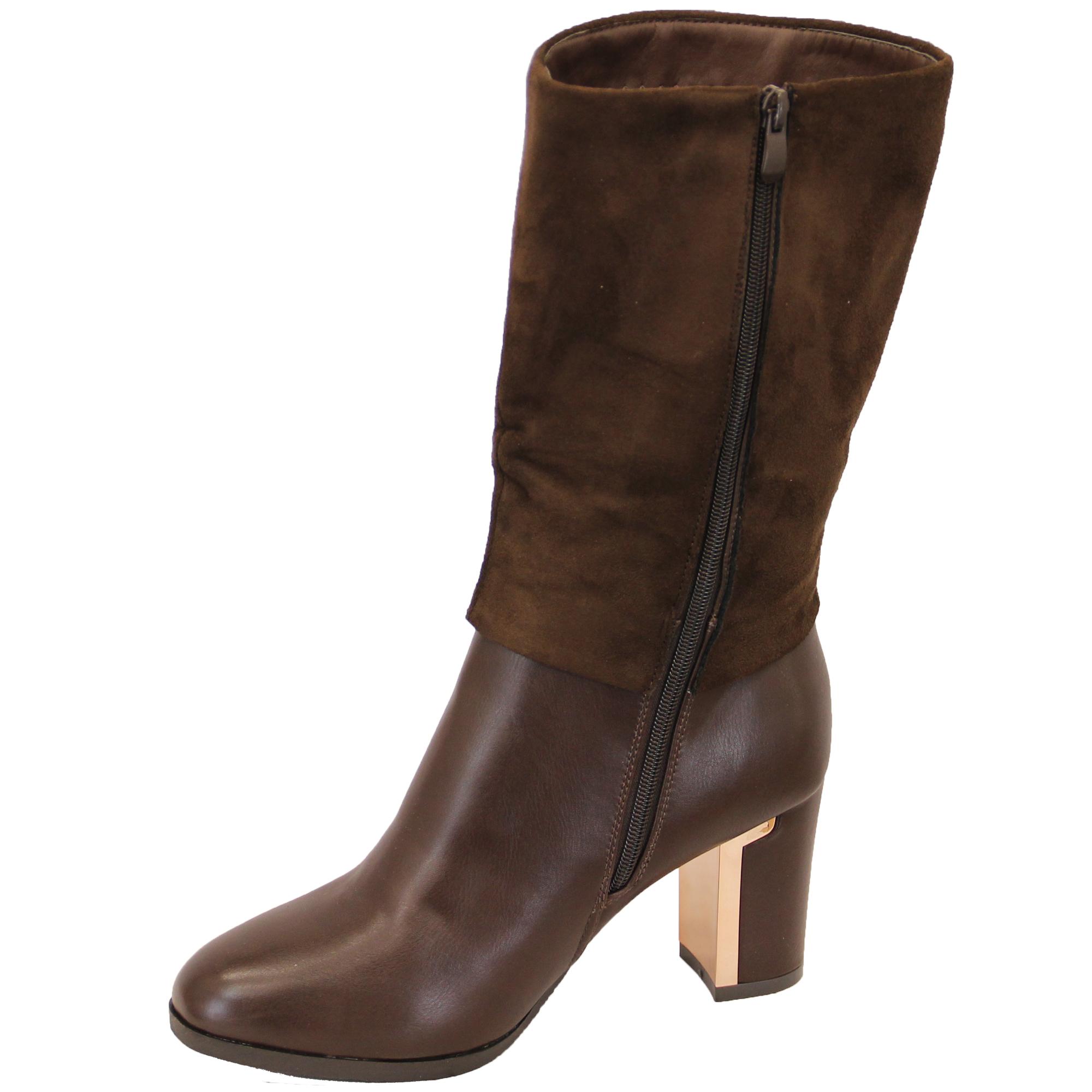 Ladies Chelsea Long Boots Womens Suede Look Block Heel Sherpa Fleece Stud Elong