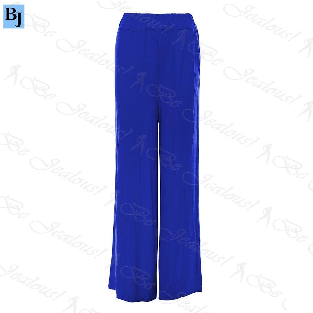 Femmes-Palazzo-Jambe-Large-Pantalon-Dames-Uni-Evase-Leggings-Grande-Taille-8-26
