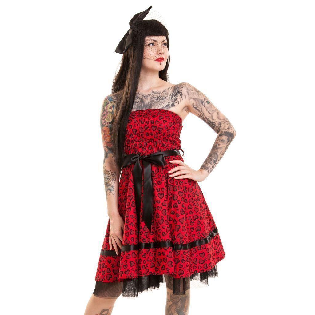 Rockabella Stechpalmen Kleid in rot Baumwolle Goth Emo Punk Damen | eBay