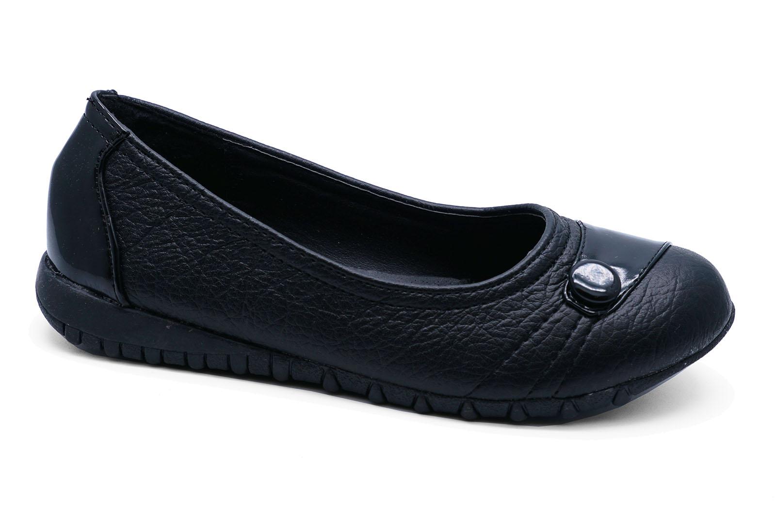 MÄDCHEN KINDER JUNIOR schwarz Schul Smart flach Kinder Schuhe Pumps Größen 12-3