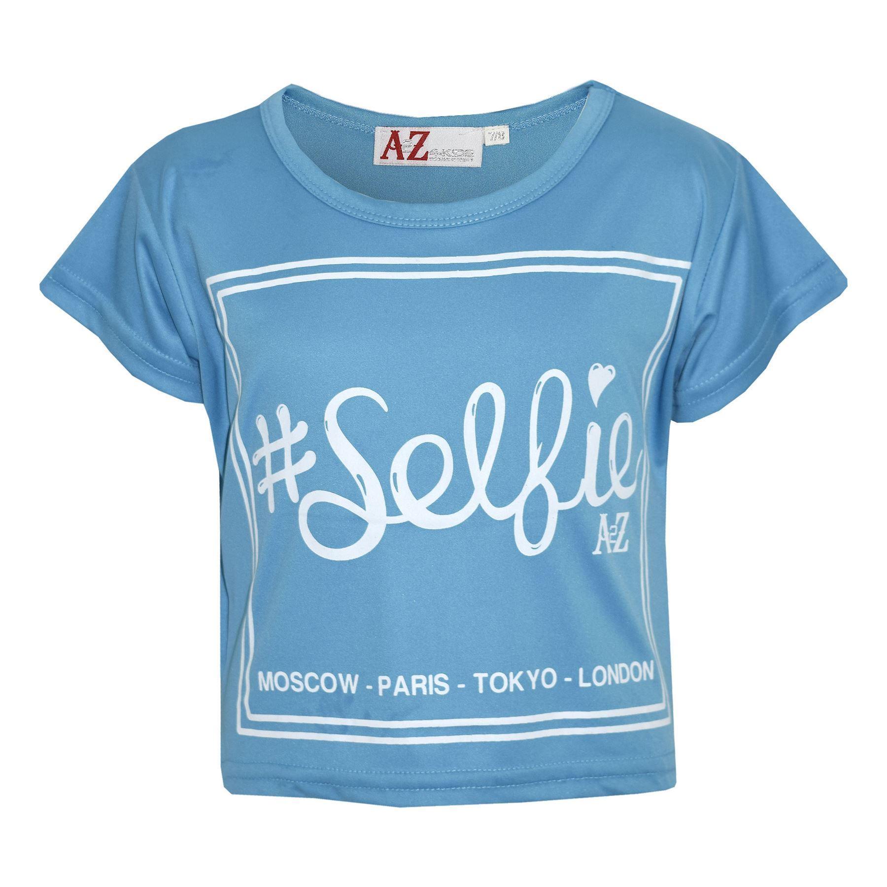 Haut-Fille-Enfants-Selfie-Elegant-Imprime-Mode-Trendy-T-Shirt-Court-5-13-Ans