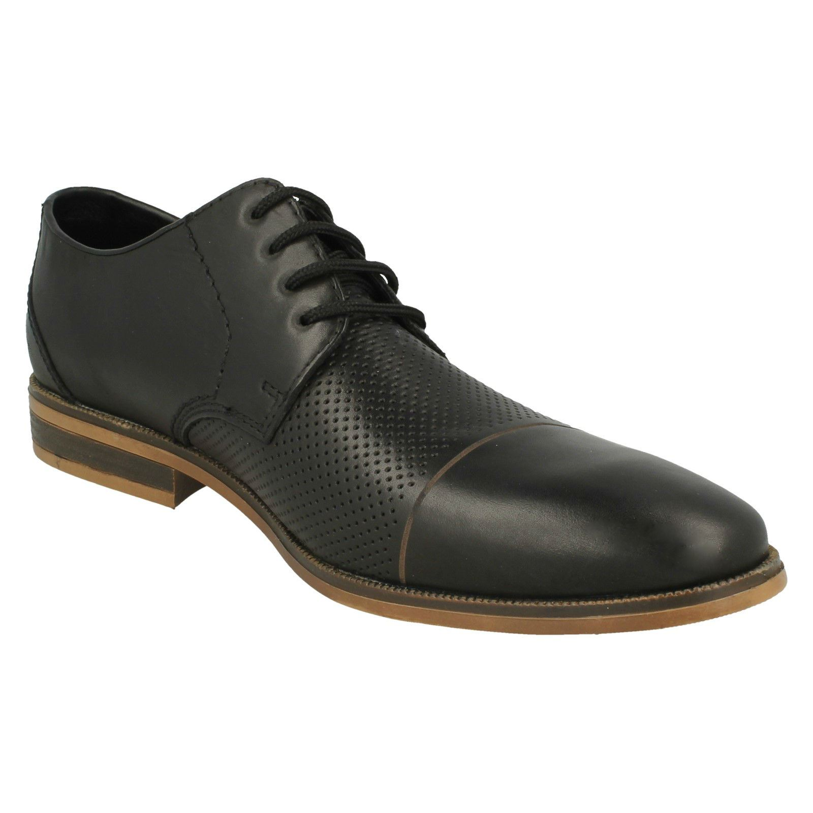 Herrenschuhe Mens Rieker 11615 Black Leather Lace Up Shoes