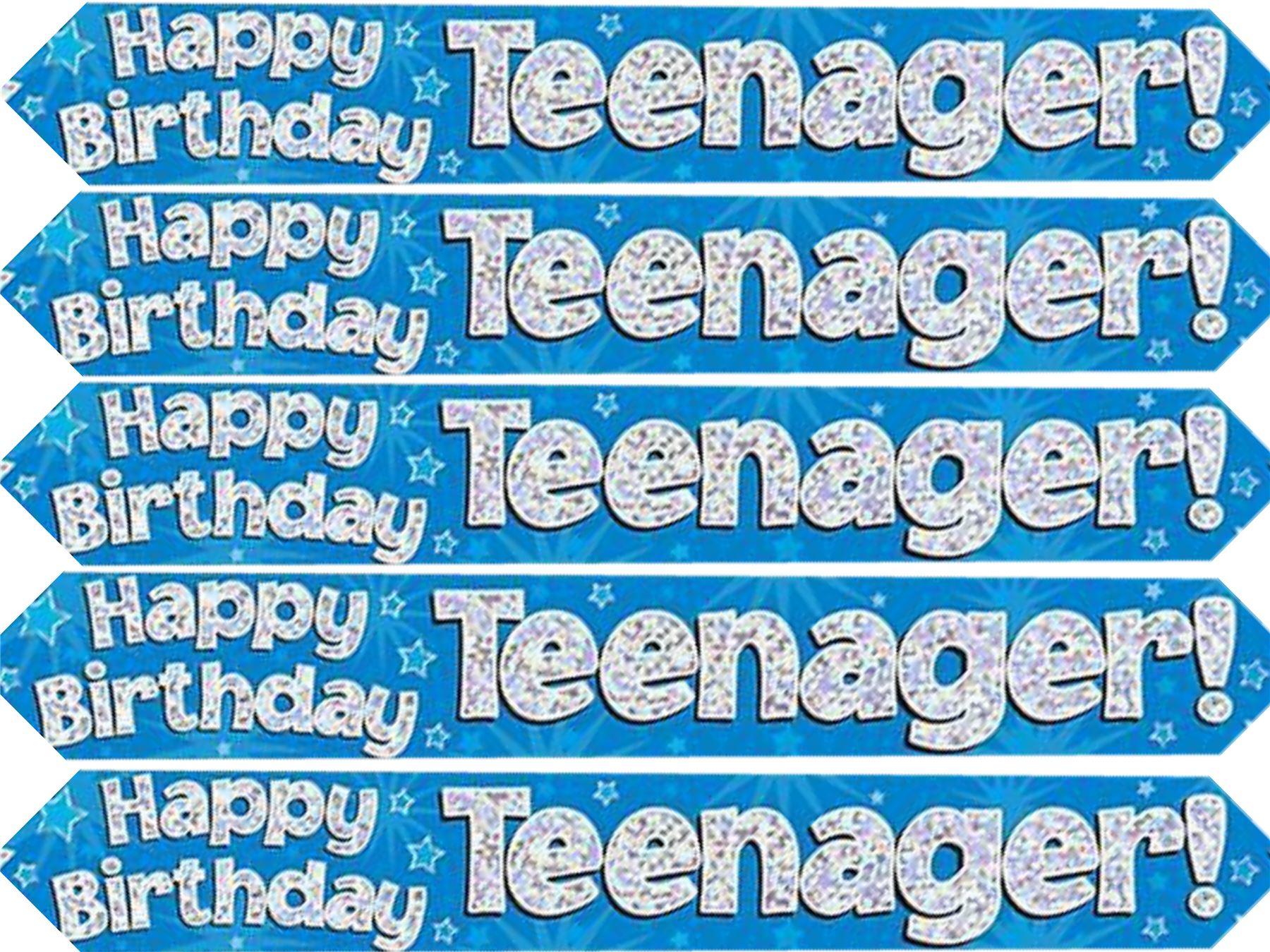 Alles Gute Zum Geburtstag Teenager Blau Holografisch 9ft Banner Ebay