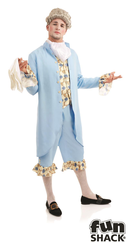 Georgiano-Hombre-Disfraz-Adulto-Hombre-Azul-historico-Regency-DUKE