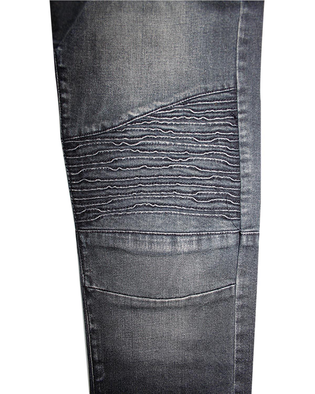 Hombre-jacksouth-Elastico-Ajustado-Denim-Rasgado-Pintura-MANCHA-Bikers-Jeans