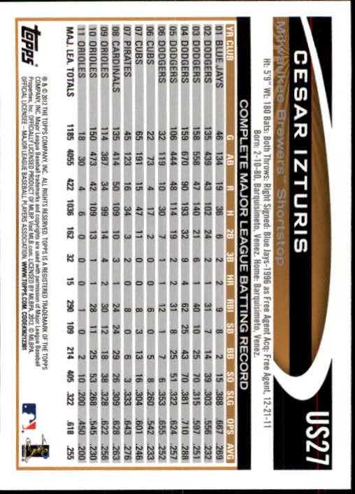 2012-Topps-Actualizacion-Beisbol-US1-US230-Usted-Recoger miniatura 40