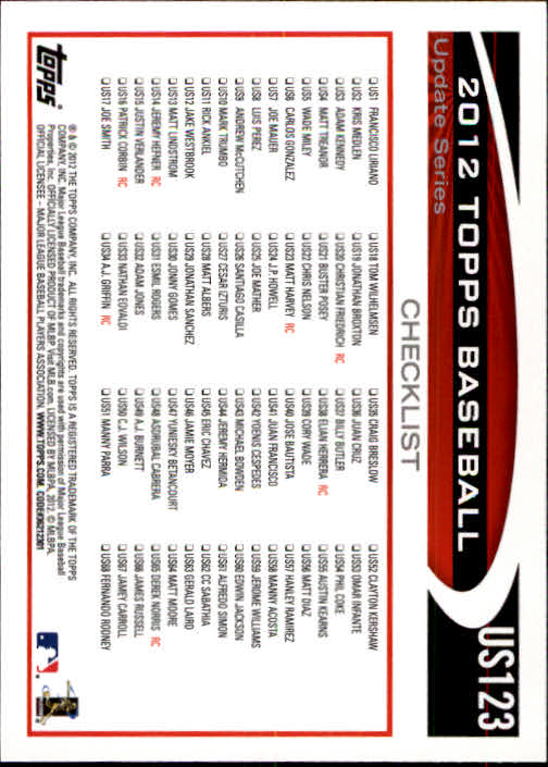 2012-Topps-Actualizacion-Beisbol-US1-US230-Usted-Recoger miniatura 175