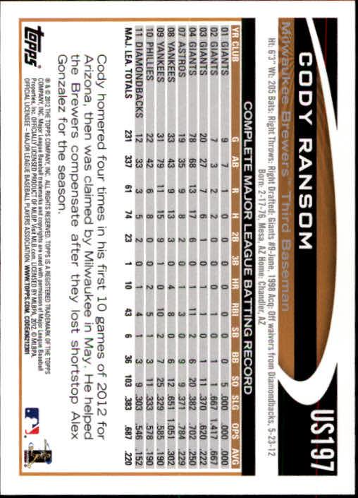2012-Topps-Actualizacion-Beisbol-US1-US230-Usted-Recoger miniatura 268
