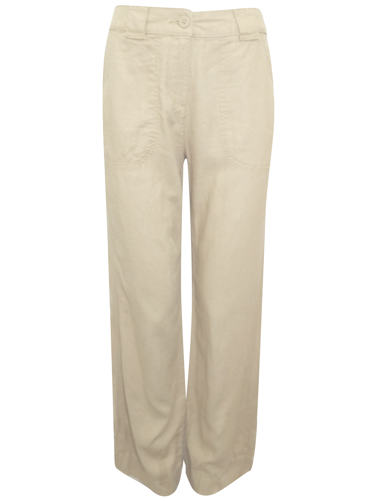 Marks-amp-Spencer-Women-Camel-Linen-Blend-Straight-Leg-Flat-Front-Trousers