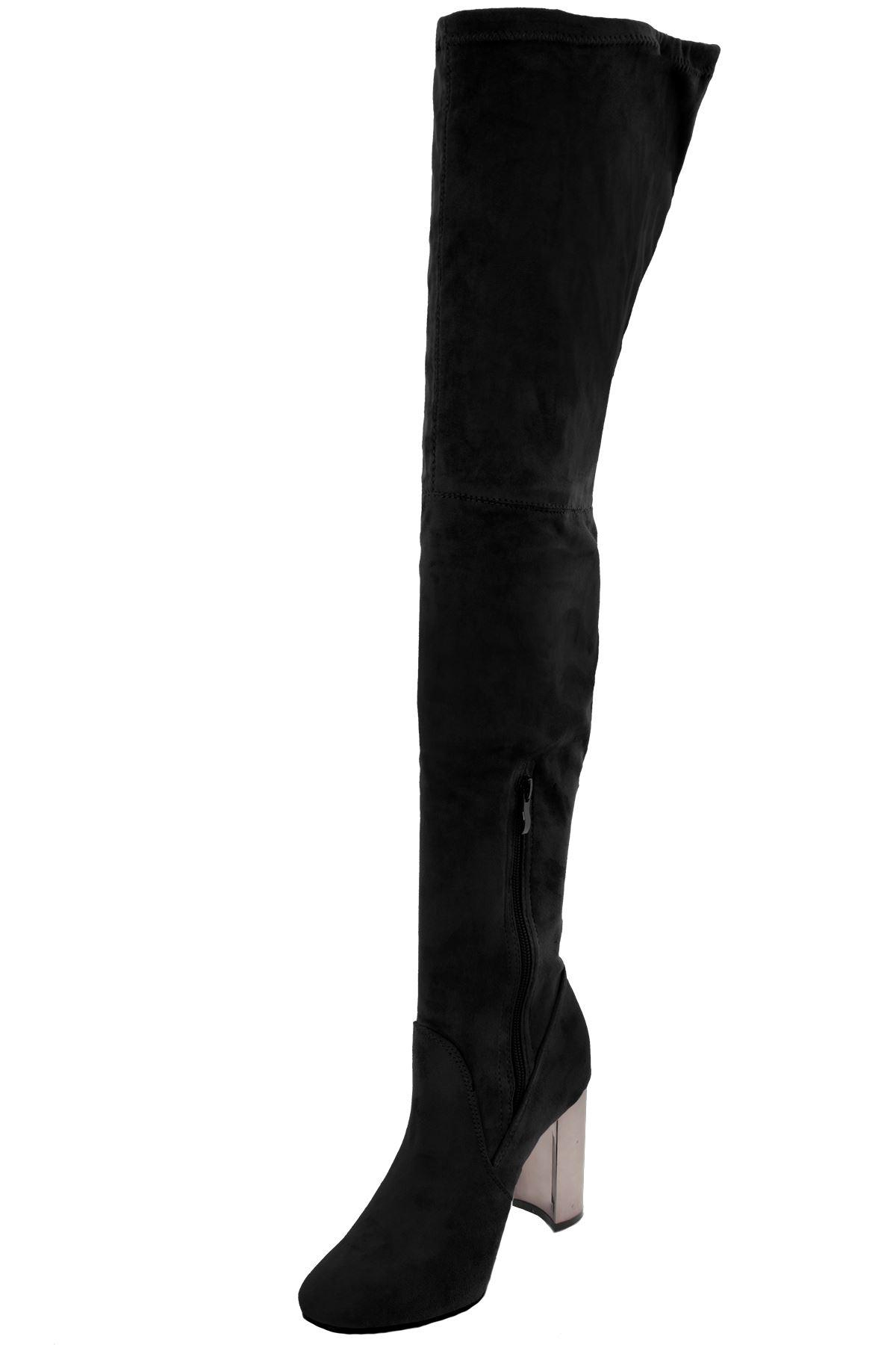 Bas jarretière Mesdames au dessus du genou suédé cuir suédé genou talon bloc 6b781f