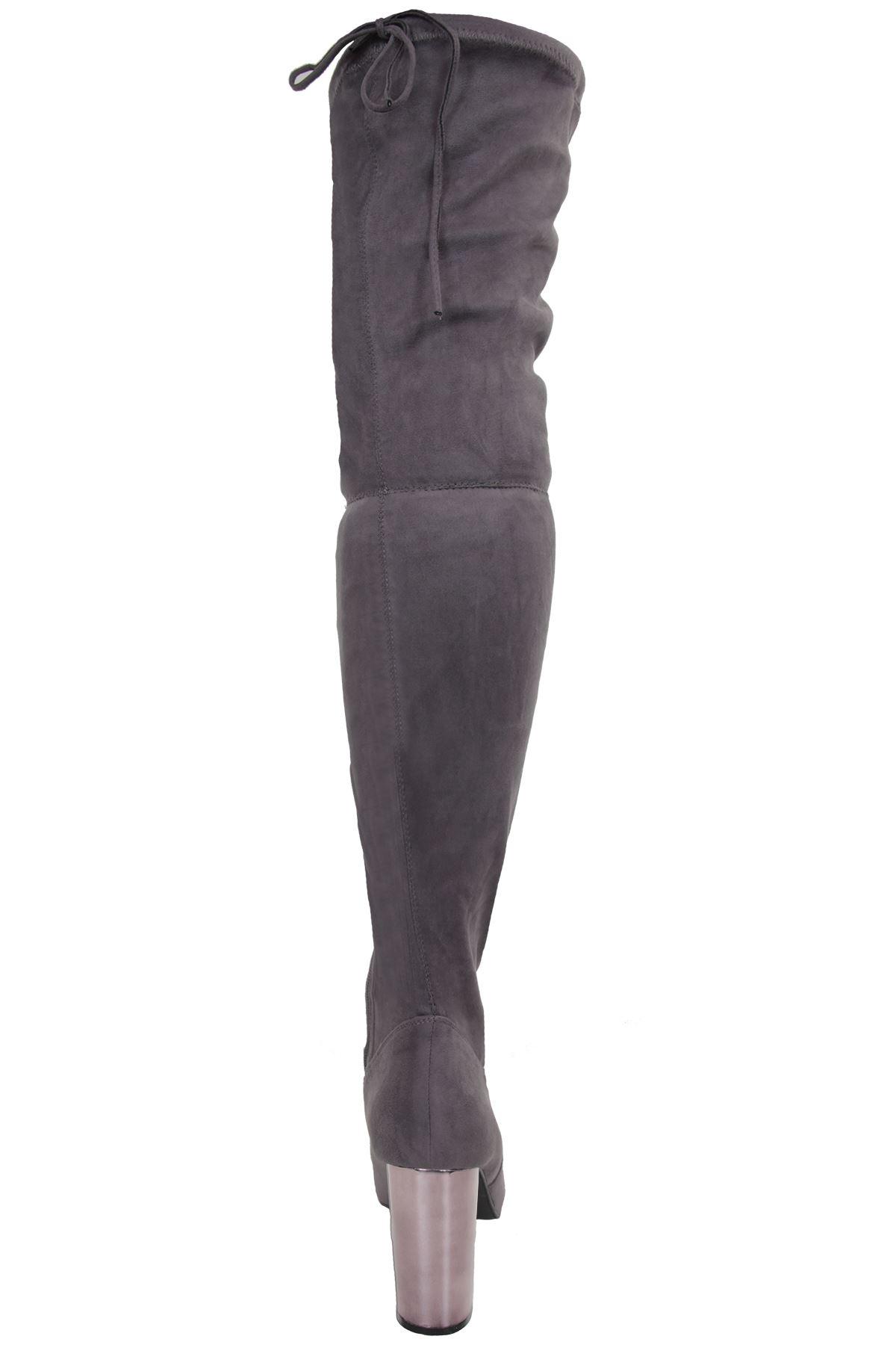 Damen Overknee grob hoch schenkelhoch metallisch Block grob Overknee Absatz Wildleder Stiefel 8e7360