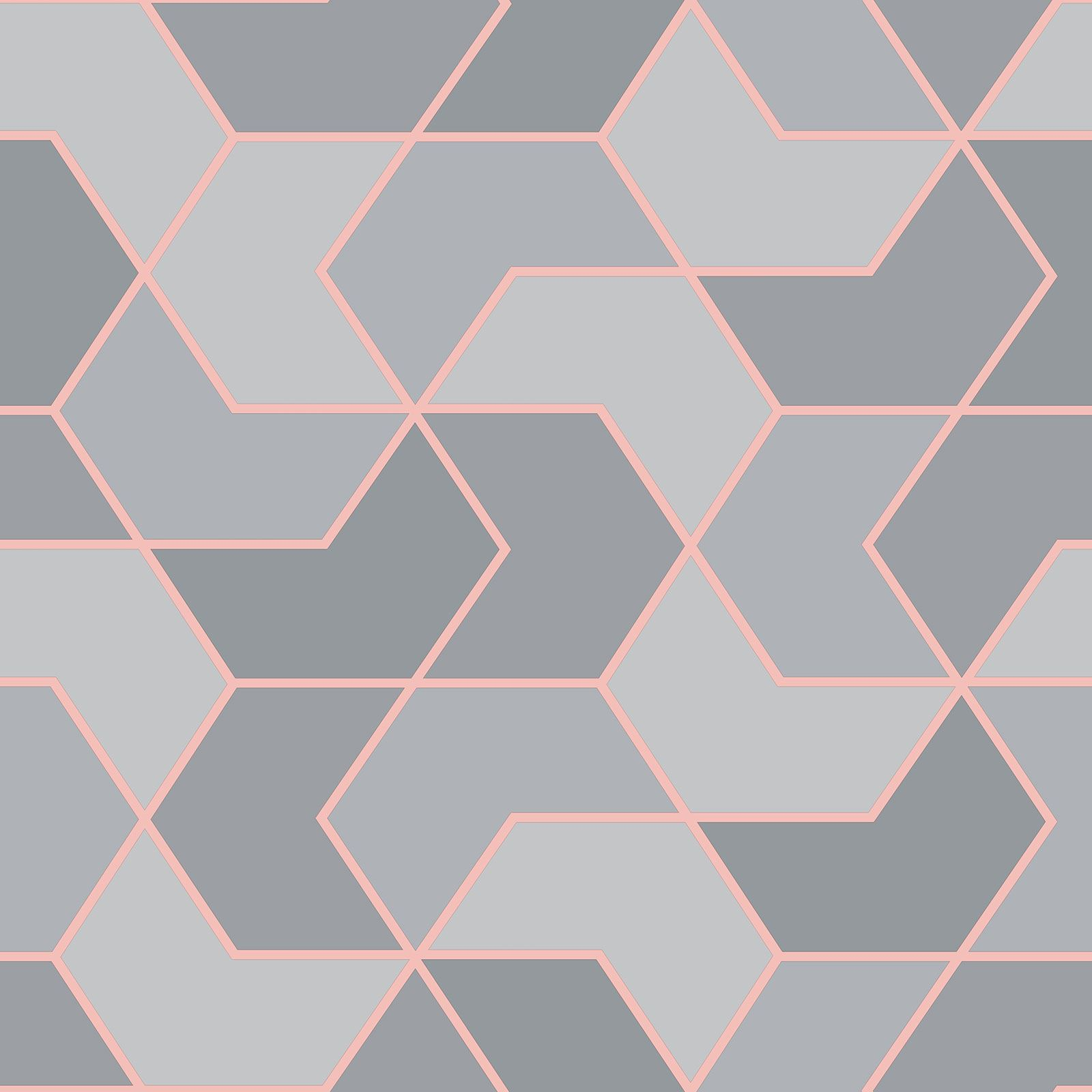 Indexbild 2 - RASCH Portfolio Sechskant Geometrische Tapete Glitzer Metallisch - Rose Gold