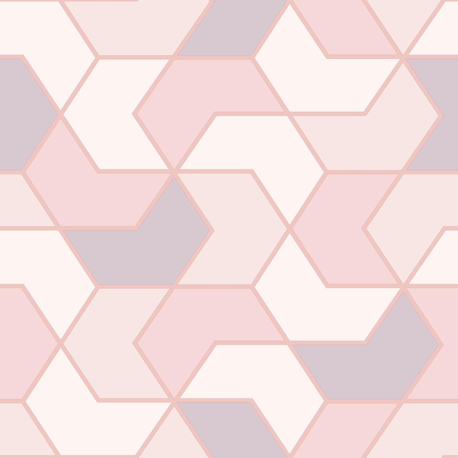 Indexbild 6 - RASCH Portfolio Sechskant Geometrische Tapete Glitzer Metallisch - Rose Gold
