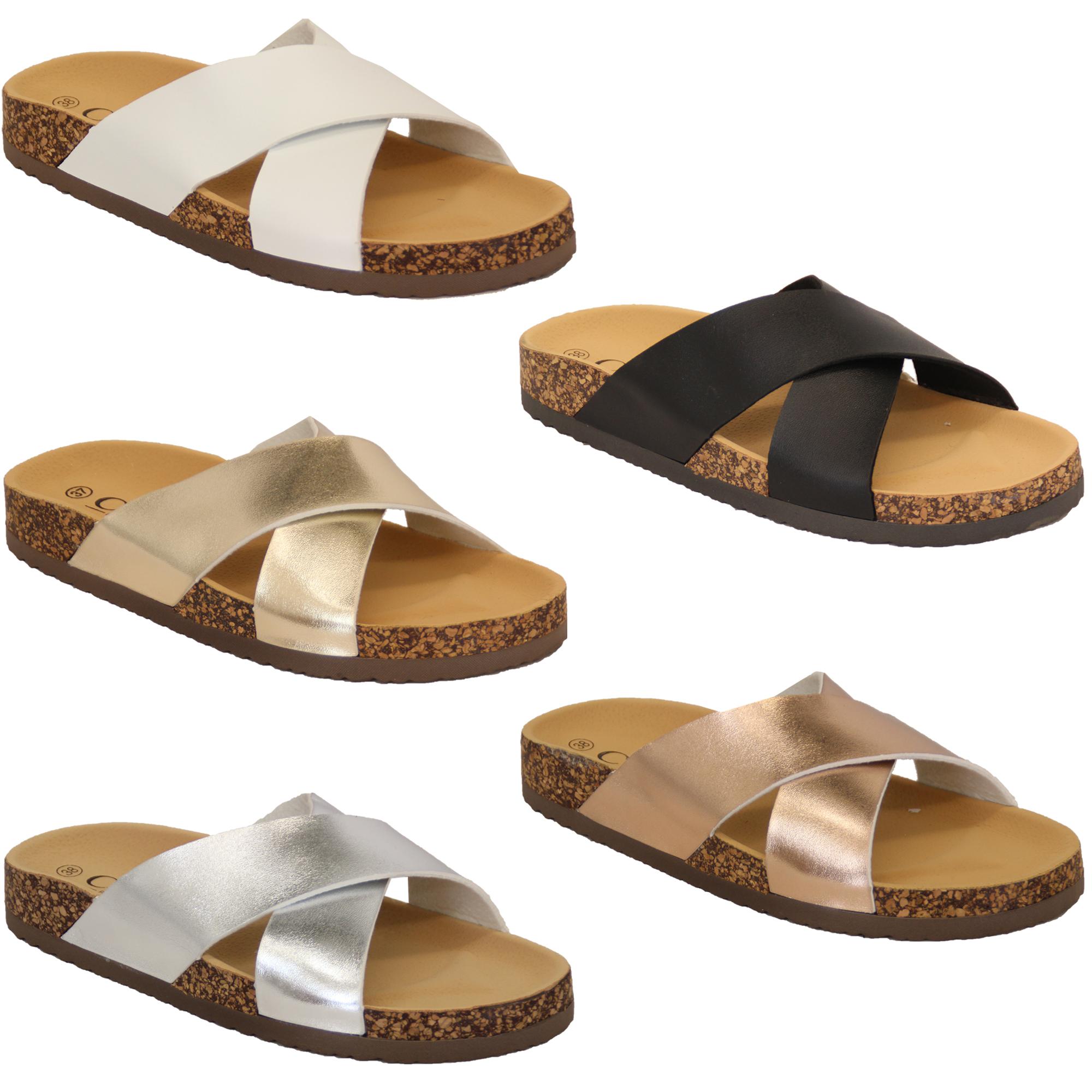 damen kork pantoffeln schieber sandalen slipper auf flach. Black Bedroom Furniture Sets. Home Design Ideas