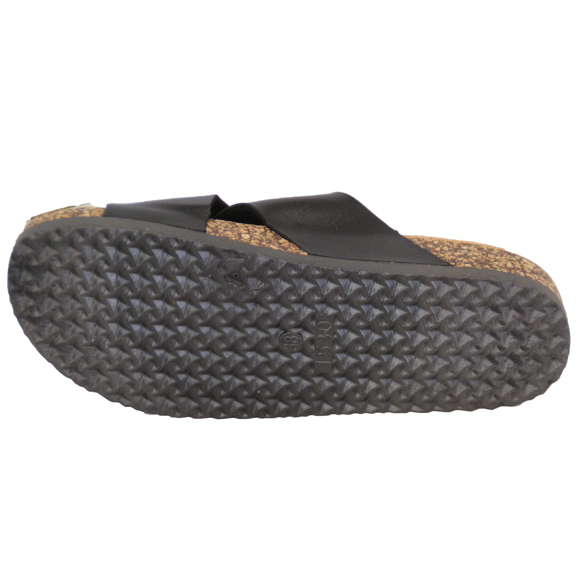 Ladies Cork Slippers Womens Sliders Mule Sandals Slip On
