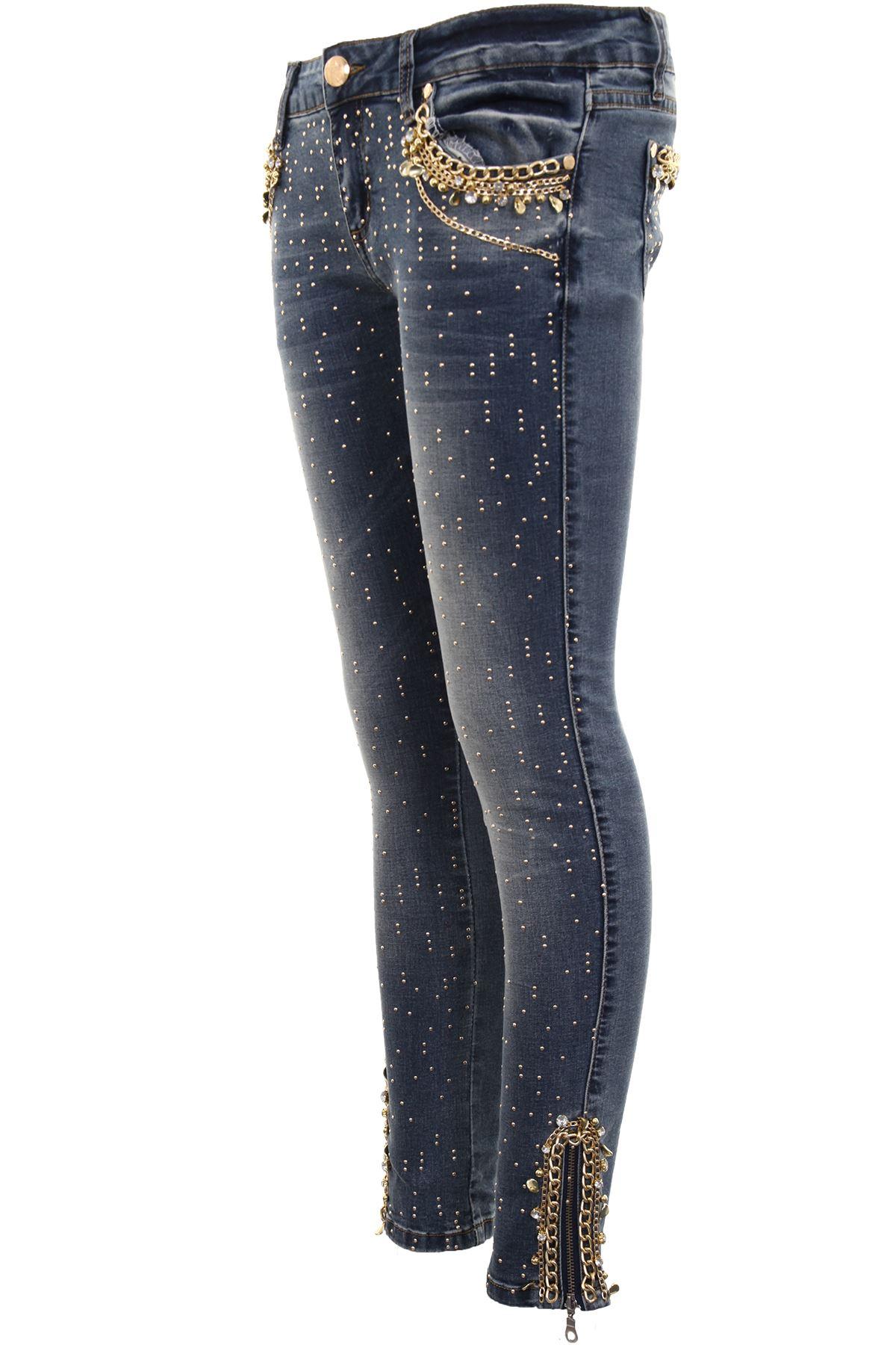 Jeans Denim Da Aderente Donna Vita Bassa Diamante Strappato Sbiadito Alta qzq48HUx
