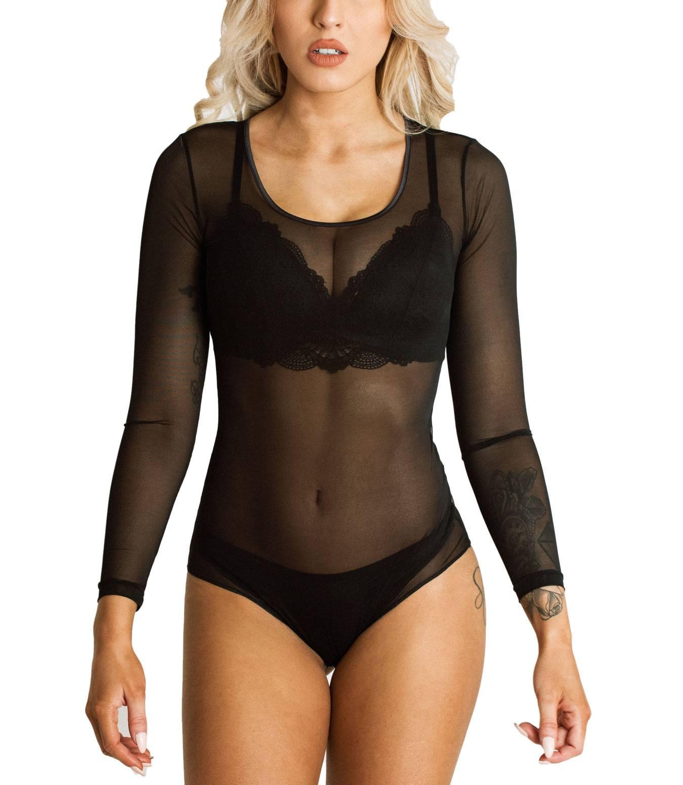 Kefali-Transparant-Damenbody-Tuellbody-Rundhals-Lingerie-Mesh-Bodysuit-Schwarz