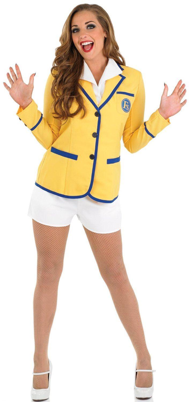 Mujer-Adulto-Anos-80-HI-de-Hi-Mujer-Amarillo-Abrigo-Vacaciones-AZAFATA-Disfraz