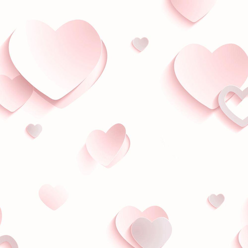 3d Hearts Glitter Wallpaper Rolls Pink