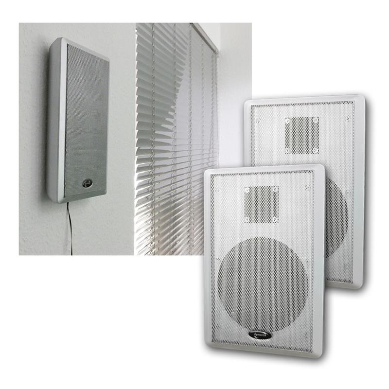 flat panel slim fine flat wall speaker pair 40w 2 way surround speakers silver ebay. Black Bedroom Furniture Sets. Home Design Ideas