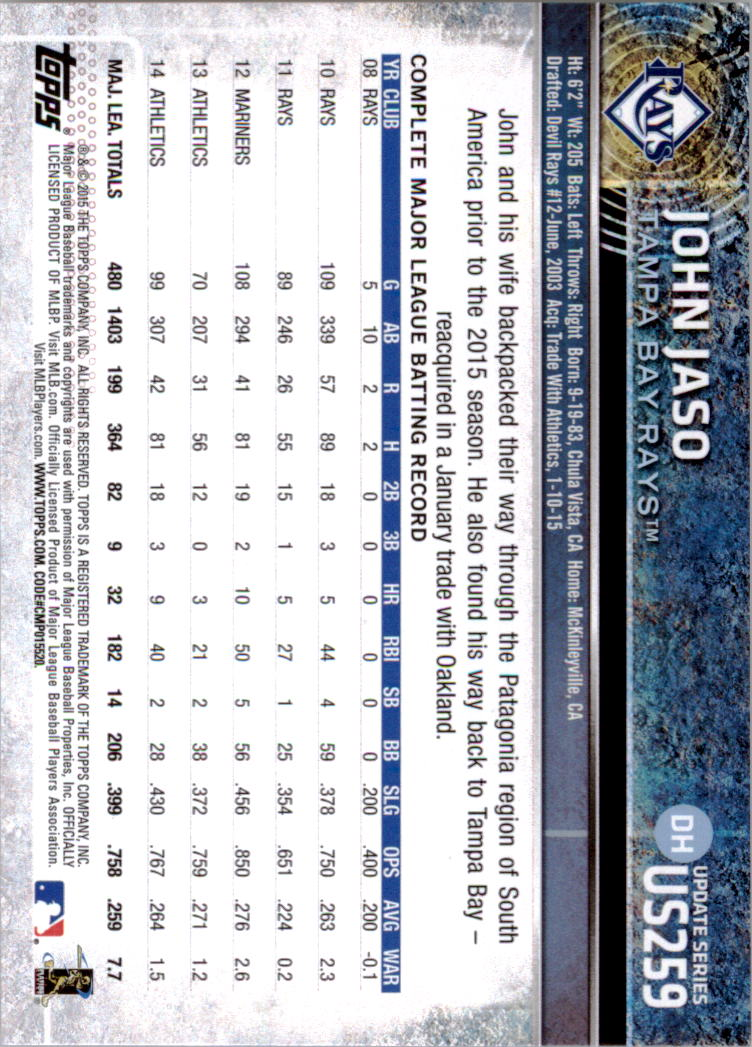2015-Topps-Actualizacion-Beisbol-Tarjeta-Recoger-238-400 miniatura 35