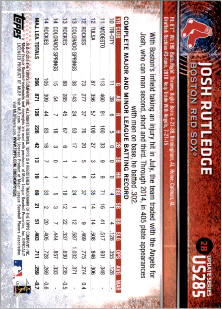 2015-Topps-Actualizacion-Beisbol-Tarjeta-Recoger-238-400 miniatura 82