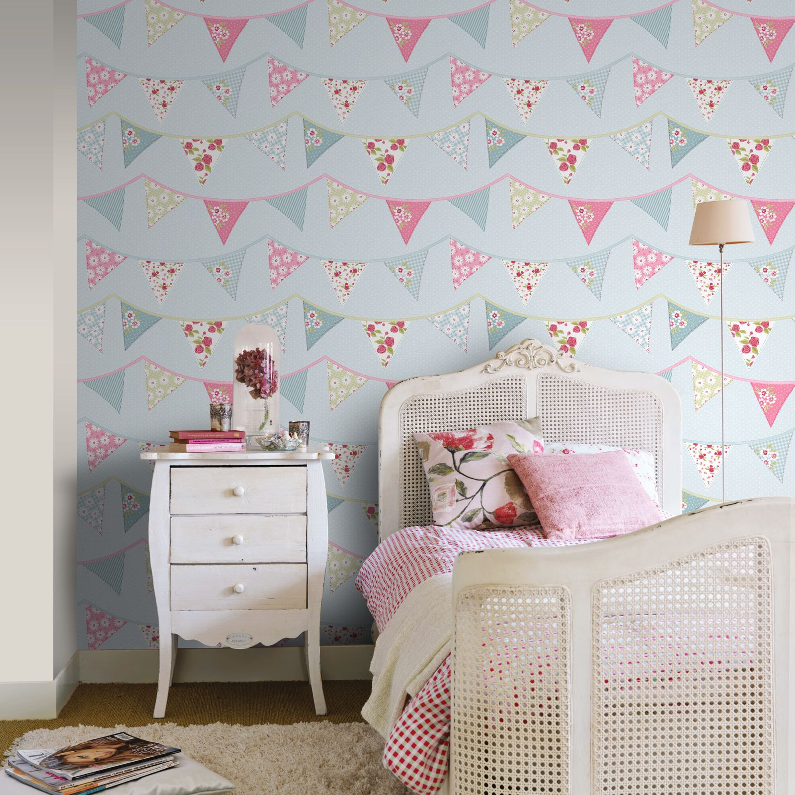 Girls Bedroom Wallpaper Kids Unicorn Mermaid Glitter Ebay