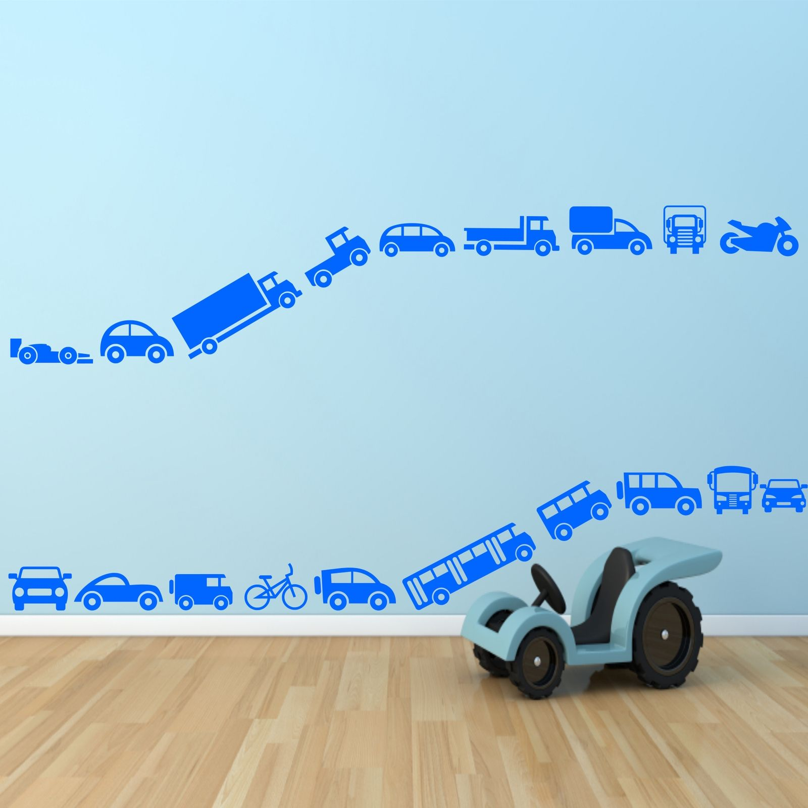 Toy cars bike truck lorry set wall stickers decals murals for Cars wall mural sticker