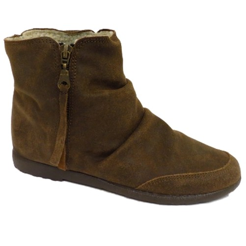 womens brown leather fleece lined flat boho zip up ankle