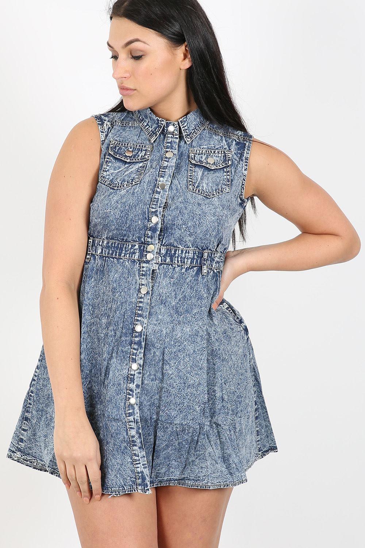 Donna-Vintage-Vestito-Denim-Lavaggio-Acido-Top-Senza-Maniche-Con-Colletto-Jeans