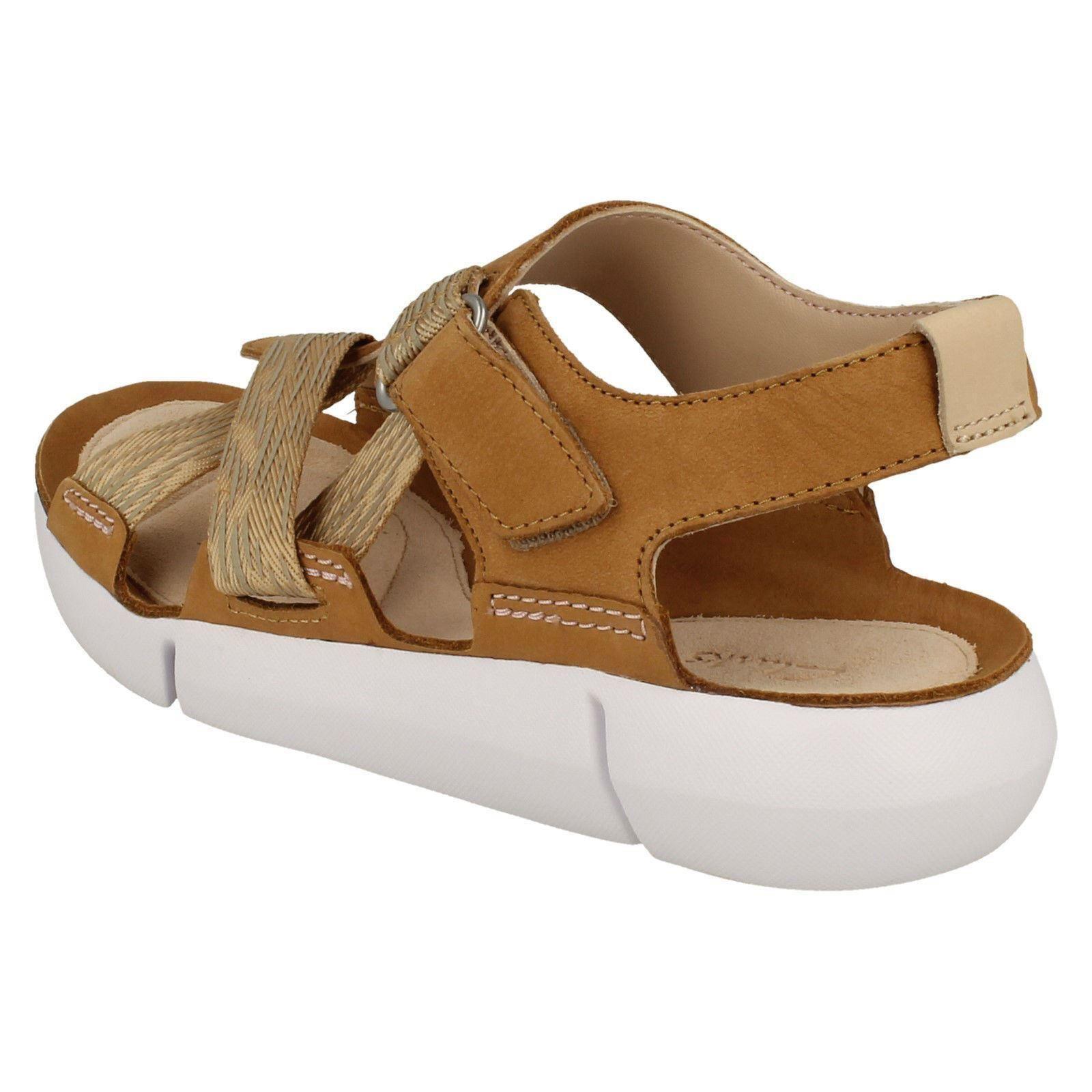 Details zu Damen Clarks Tri Klee Freizeit Leder Sportliche Sandalen D Passform