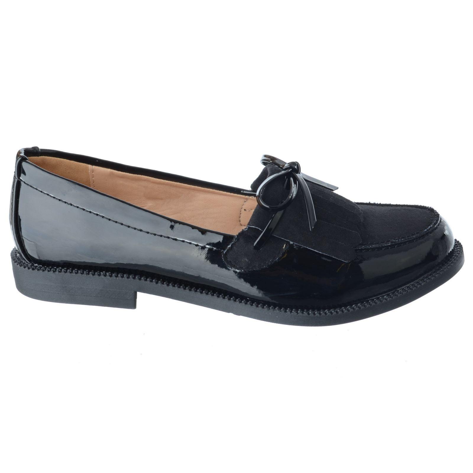 Damen NEU klassisch Fransen Slipper Flach Büro Schuhe Pumps Brogue ...