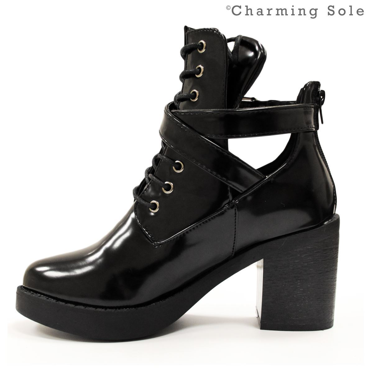 Womens Cleated Sole High Heel Chunky Platform Boots Ladies ...