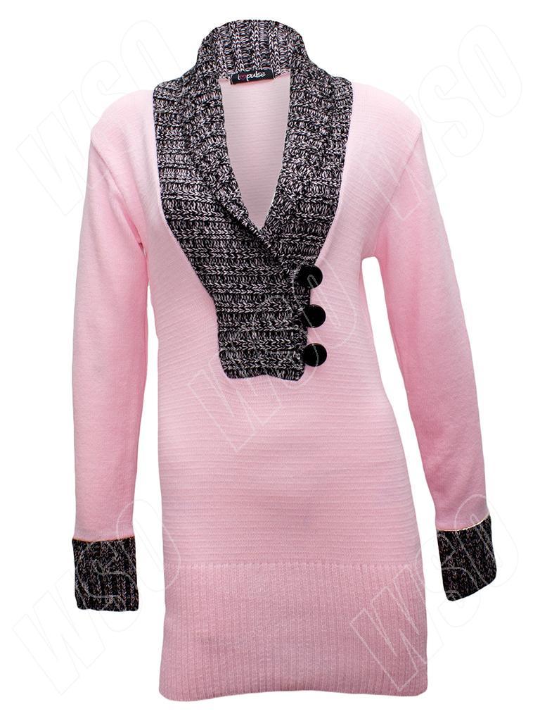 neu damen strick lang rmlig v ausschnitt pullover kleid gr e 36 38 42 s m l xl ebay. Black Bedroom Furniture Sets. Home Design Ideas