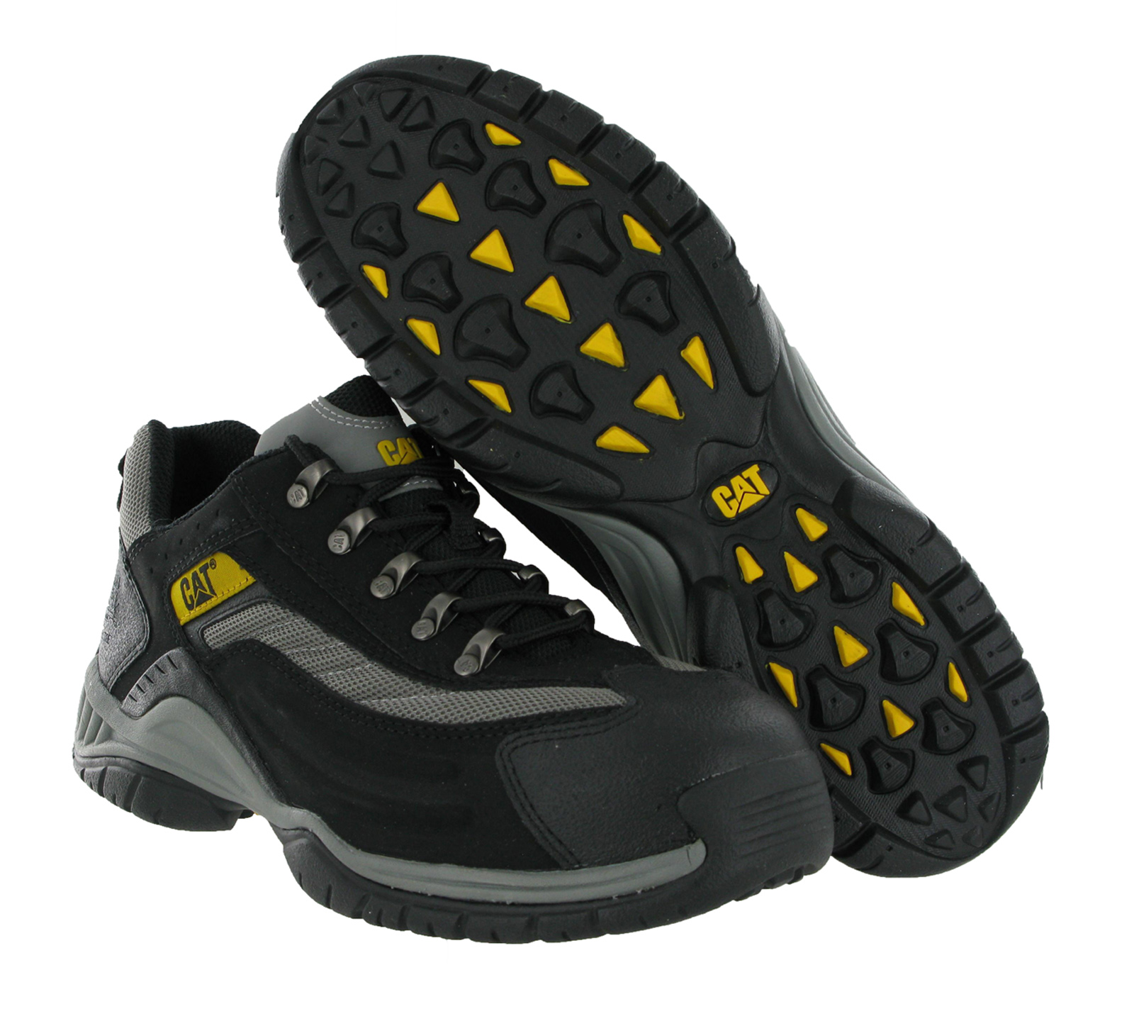New Mens Caterpillar Moor Black Steel Toe Cap Safety Shoes Trainers Size 3-13