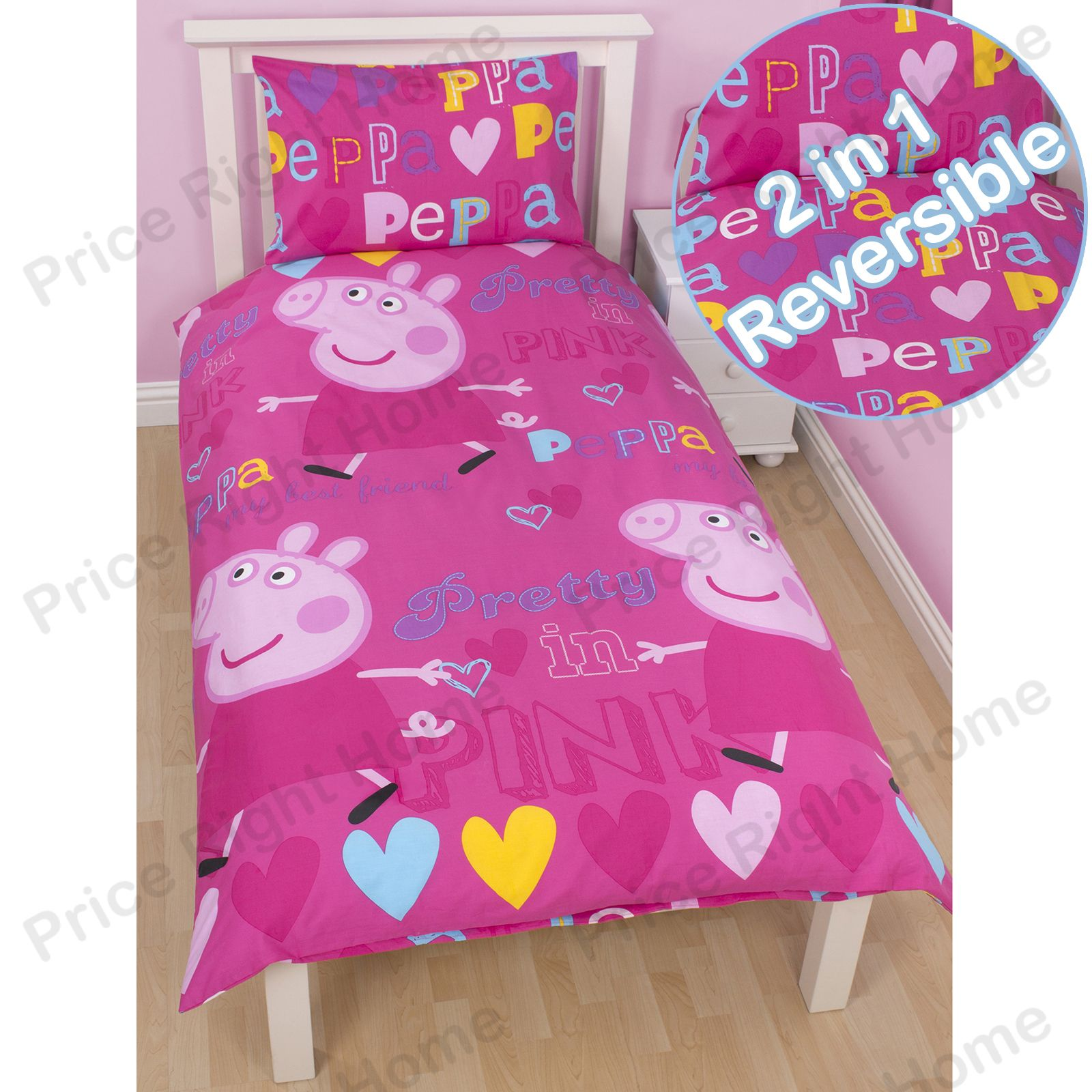 Peppa-Pig-amp-George-le-Cochon-Edredon-Couvres-Bebe-Simple-amp-Double-Tailles