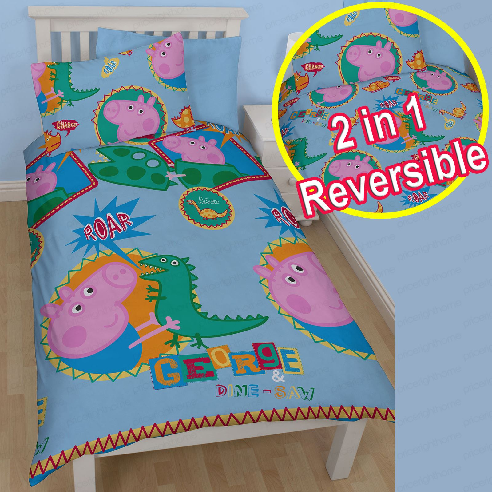 PEPPA PIG & GEORGE PIG DUVET QUILT COVERS – TODDLER ...