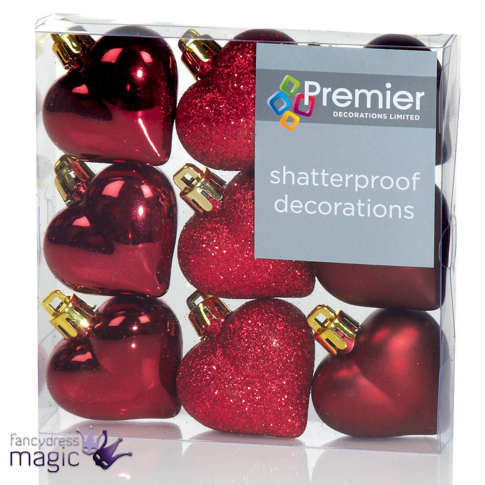 40mm-Multi-ACABADO-corazones-arbol-de-Navidad-Bolas-Inastillable-con-purpurina