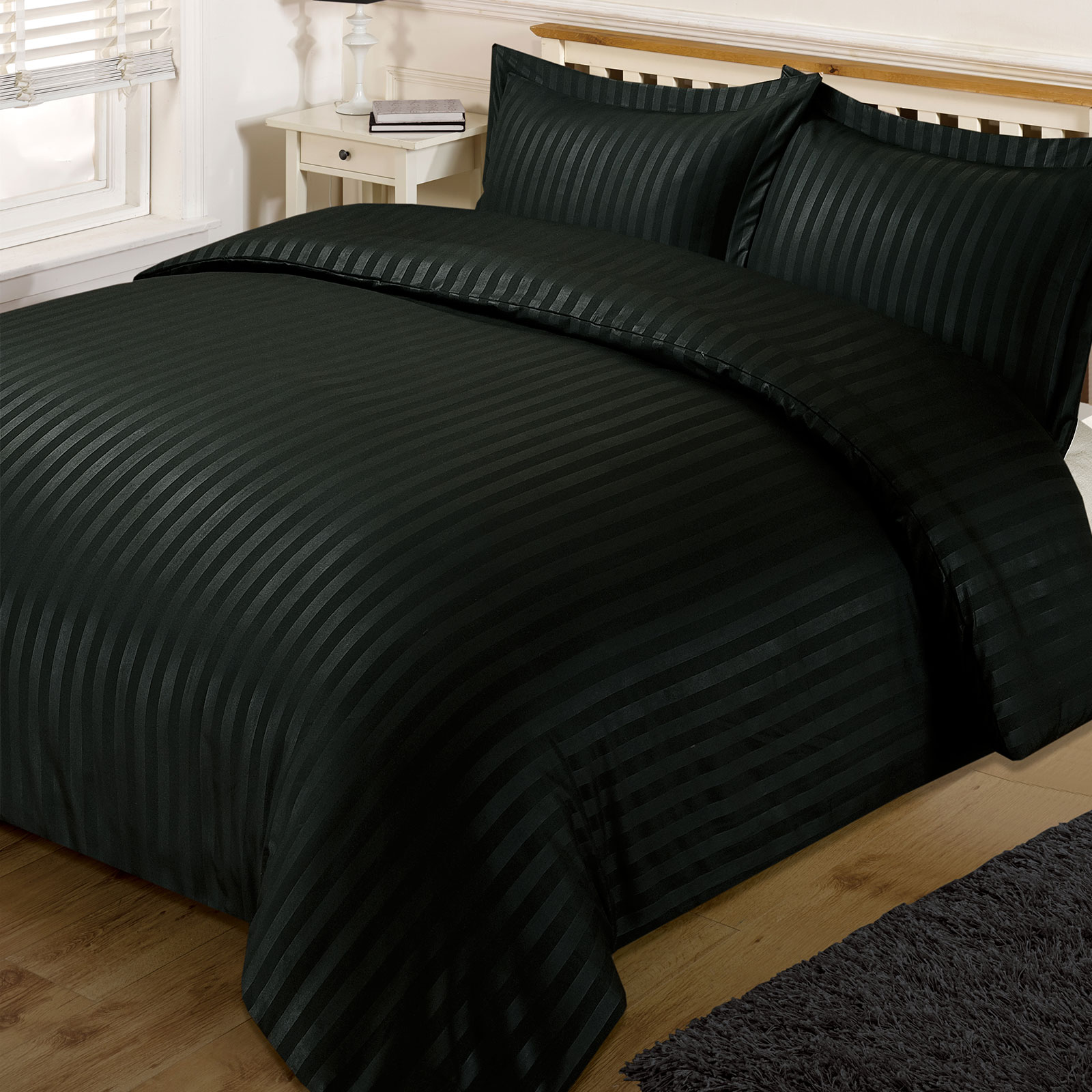 brentfords satin stripe quilt duvet cover with pillowcase set single