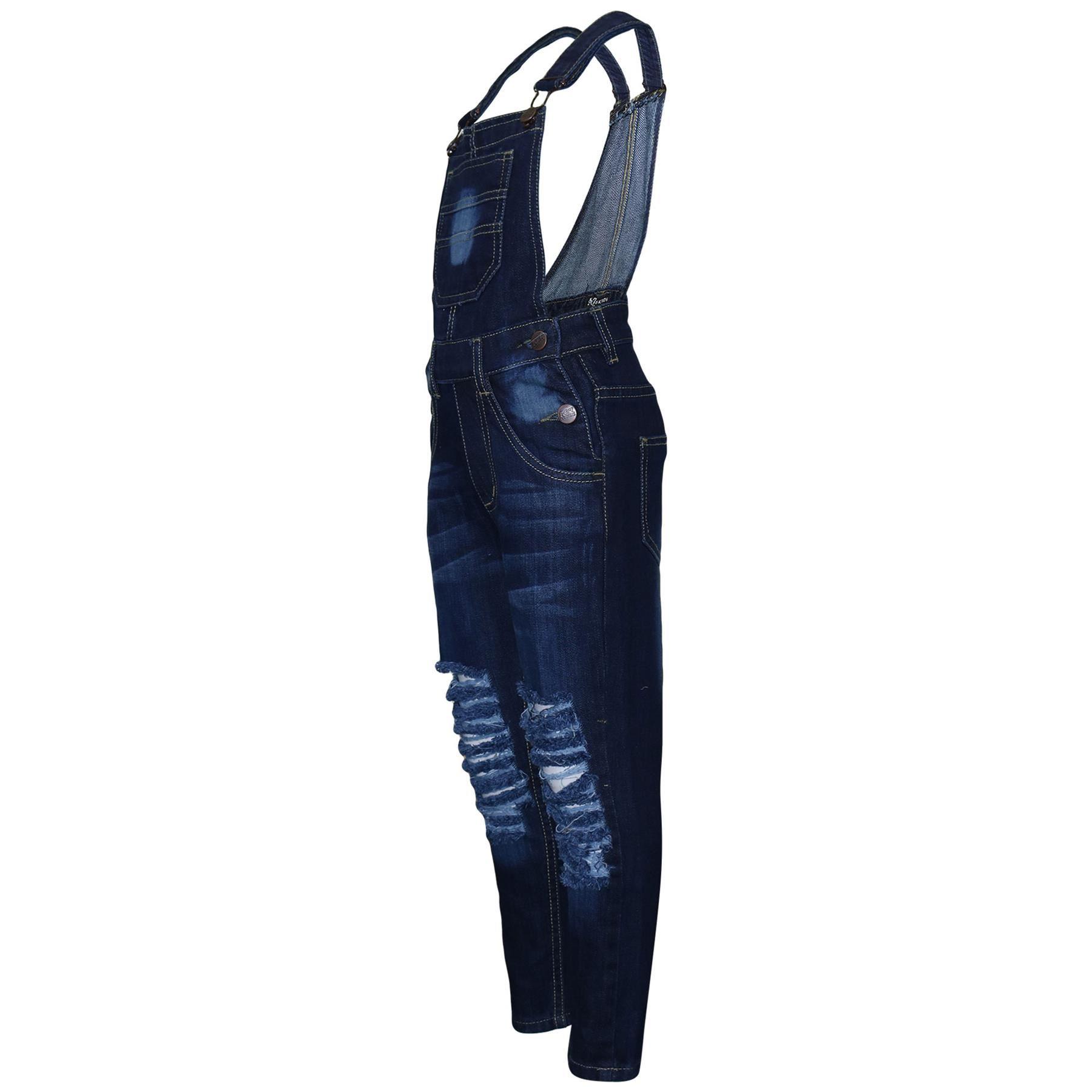 Indexbild 4 - Kinder Mädchen Denim Latzhose Zerrissen Dunkelblau Jeans Overall Mode 5-1