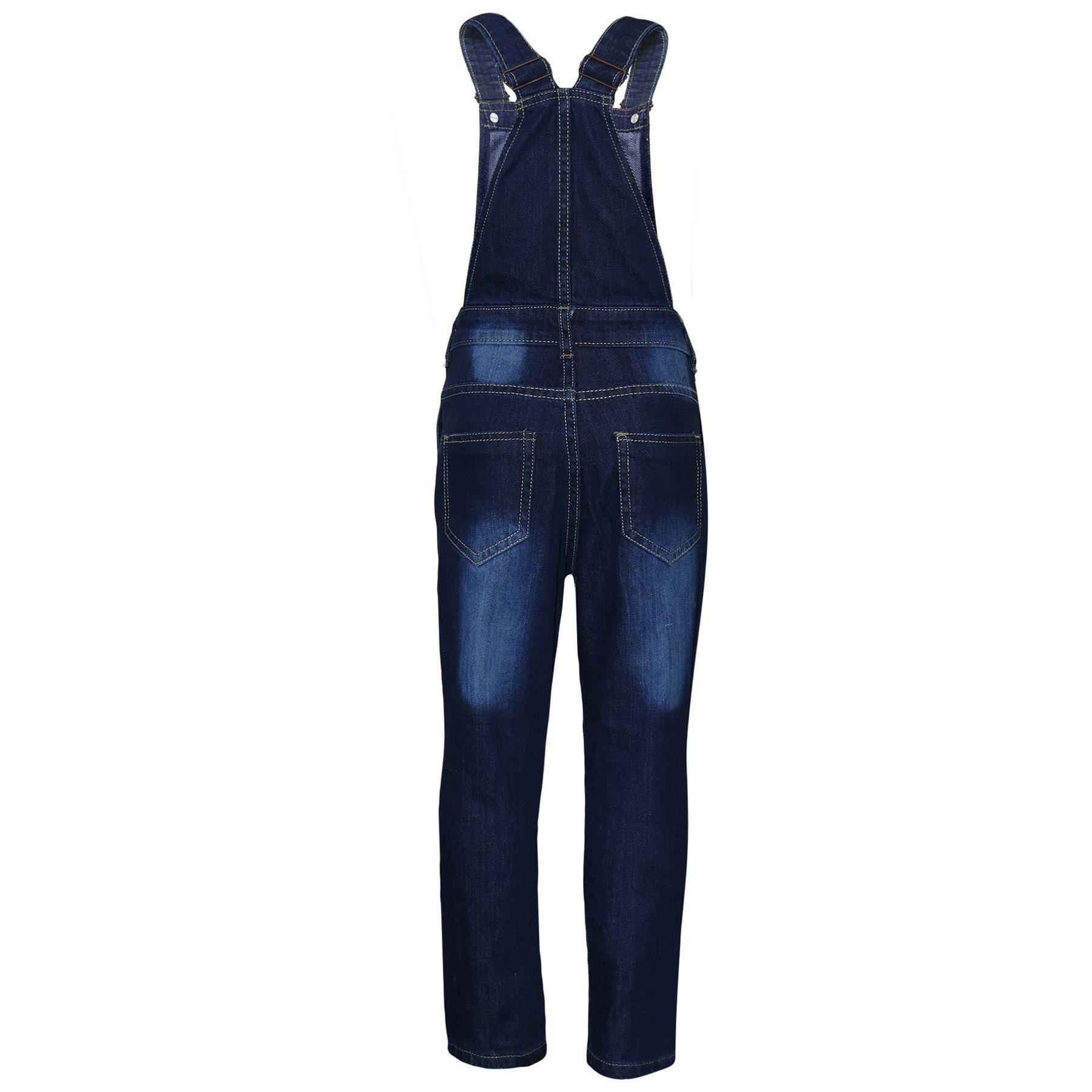 Indexbild 3 - Kinder Mädchen Denim Latzhose Zerrissen Dunkelblau Jeans Overall Mode 5-1