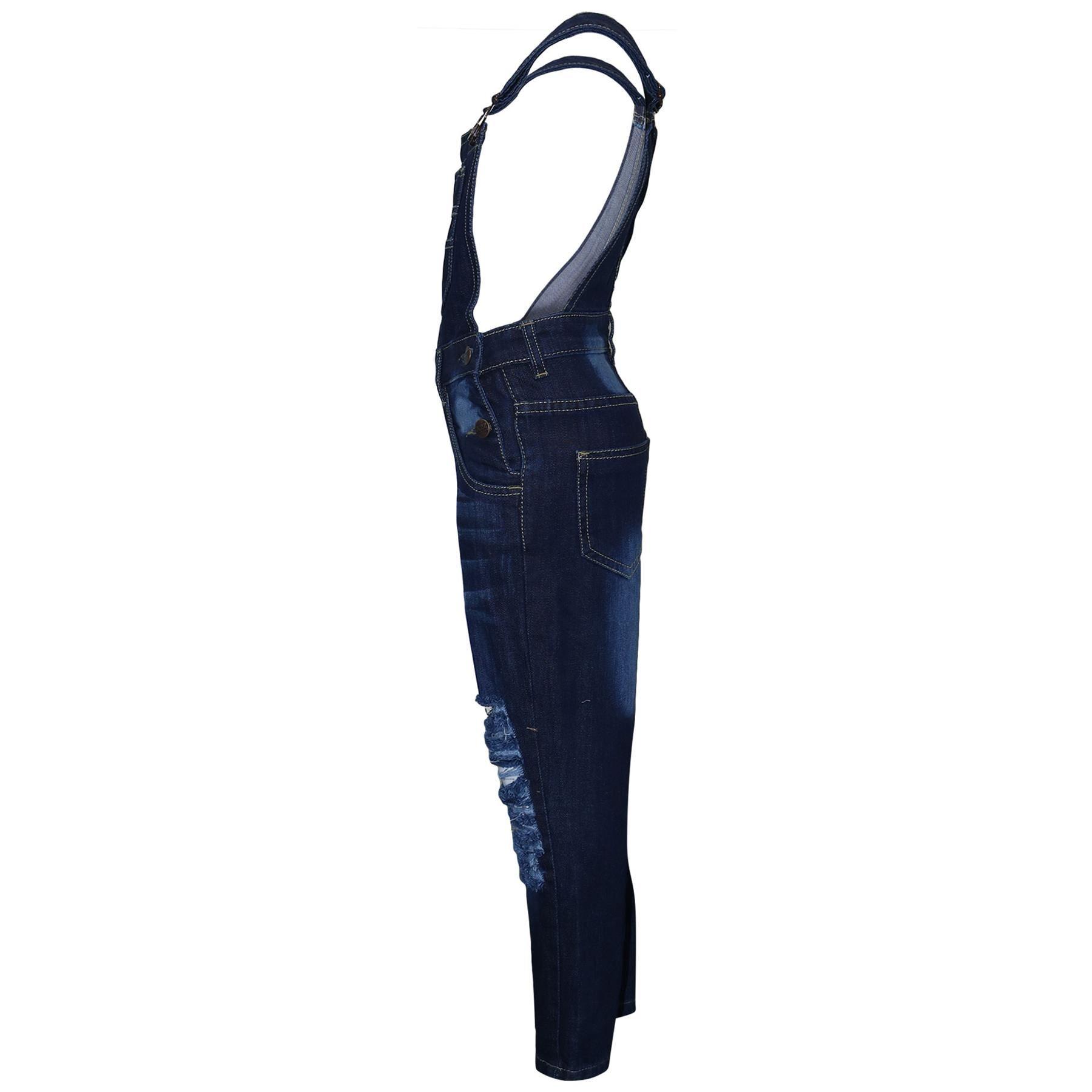 Indexbild 5 - Kinder Mädchen Denim Latzhose Zerrissen Dunkelblau Jeans Overall Mode 5-1