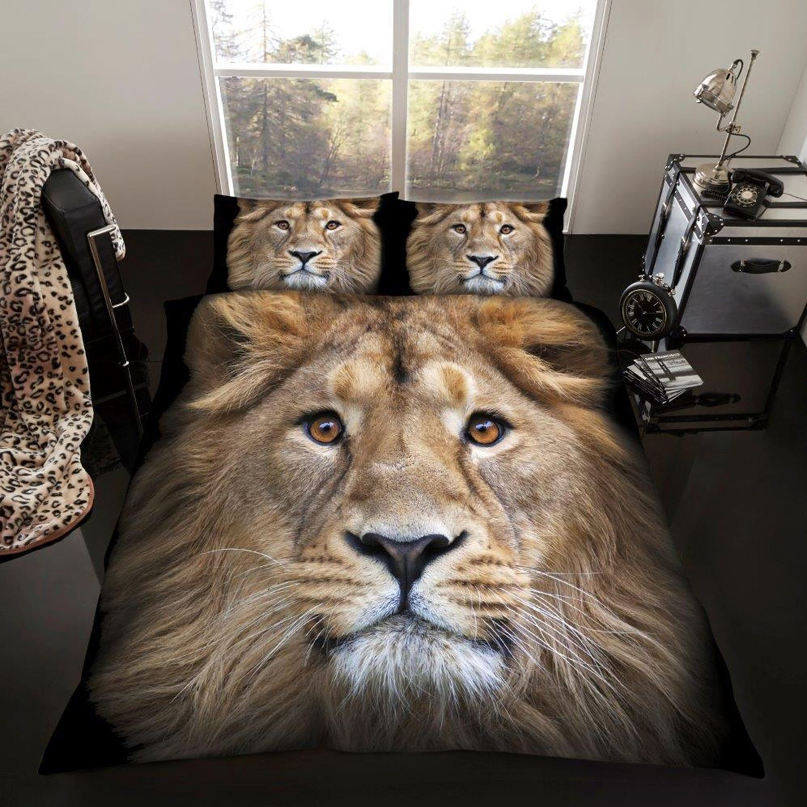 Photo-Imprime-Animal-housse-couette-simple-double-amp-King-Chevaux-leopard