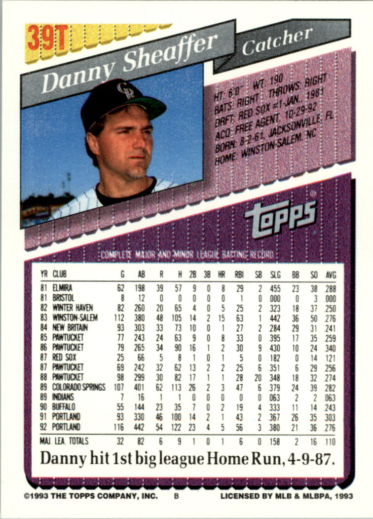 1993-Topps-Achete-Baseball-Carte-Choisissez miniature 65